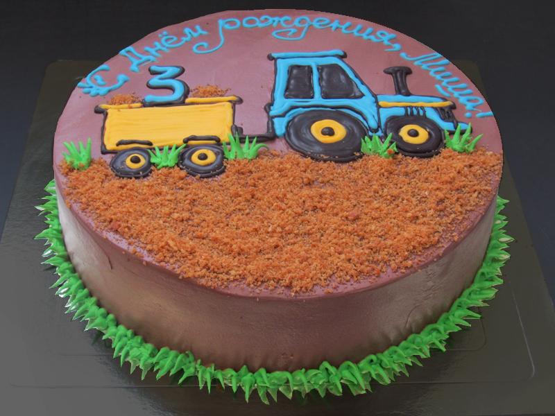 Детский сливочный тортик с трактором