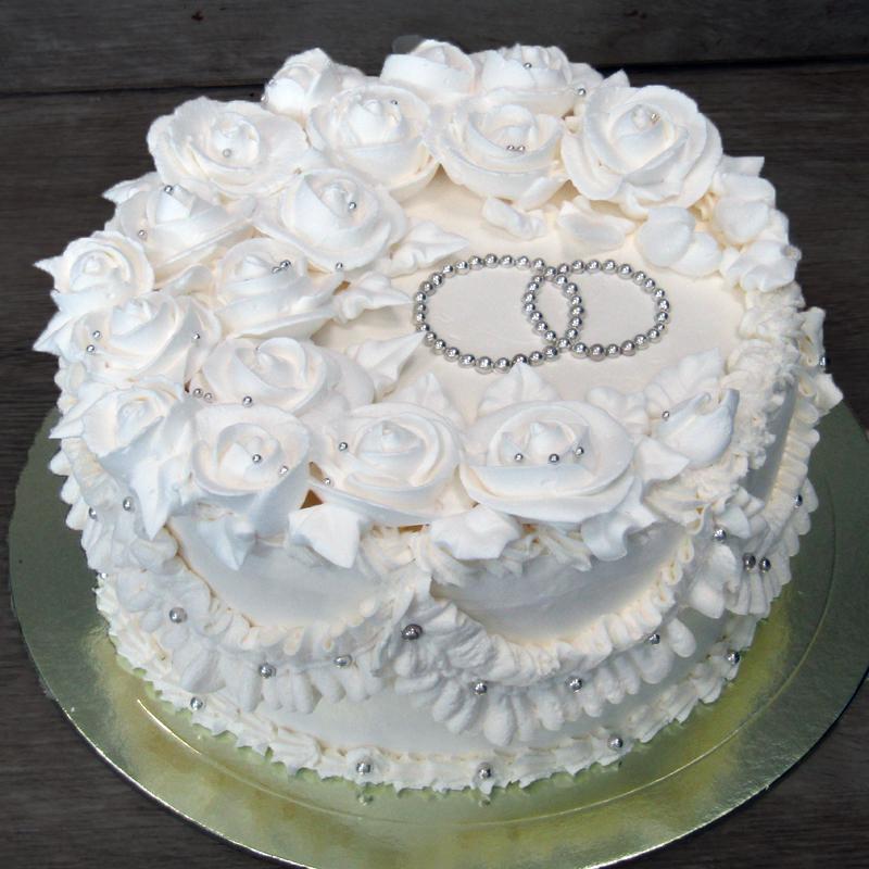 Белый свадебный тортик на 10-15 человек
